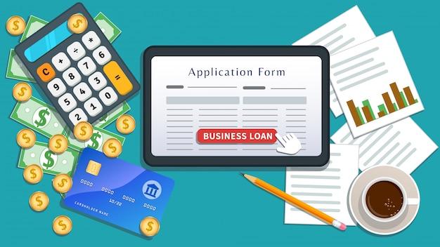 중소 기업 대출 온라인 계약. 주택 담보 대출. 신청서가있는 평면 태블릿 또는 스마트 폰