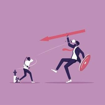 작은 사업가는 큰 사업가와 싸우는 아이디어를 사용합니다.