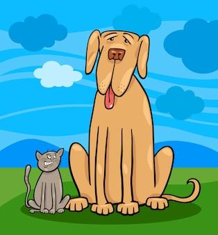 Иллюстрация маленькая кошка и большая собака