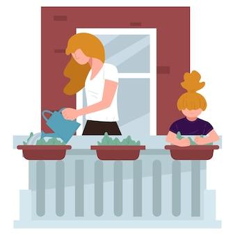 어머니가 발코니에서 꽃에 물을 주는 것을 돕는 작은 아이. 아이가 정원을 가꾸고 야외에서 자라는 실내 식물을 돌보는 여자. 집에 있는 엄마와 아이, 검역 활동. 평면 스타일의 벡터