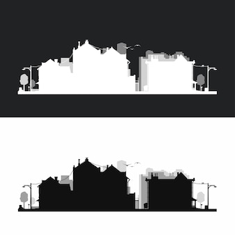 Small city neighborhood silhouette style in set
