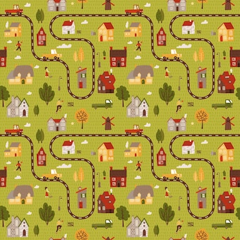 Small citymap seamless pattern. top view of countryside with houses roads and cars