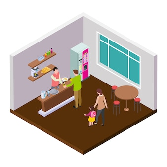 Small coffee cafe or shop isometric  interior