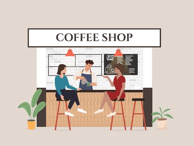 小さな喫茶店ビジネスイラストビジターとウェイトレス