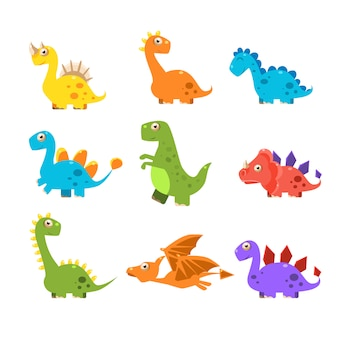Small colourful dinosaur set. collection