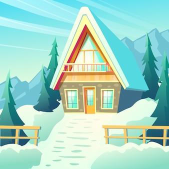 Небольшой коттедж, уютное шале в заснеженных горах, зимний курортный бунгало снаружи с каменными стенами