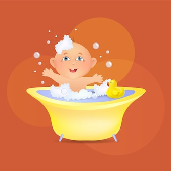 Small cute baby is taking a bath with foam and a toy a child has fun in a bubble bath