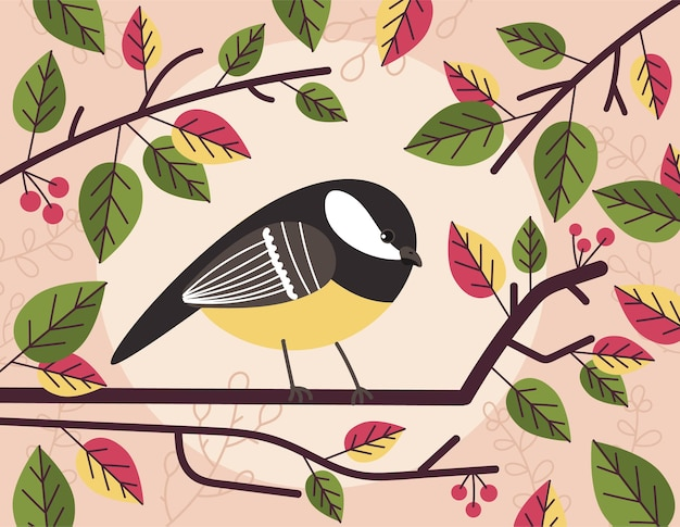 Small cute tit bird sitting on branch between leaves and berry illustration