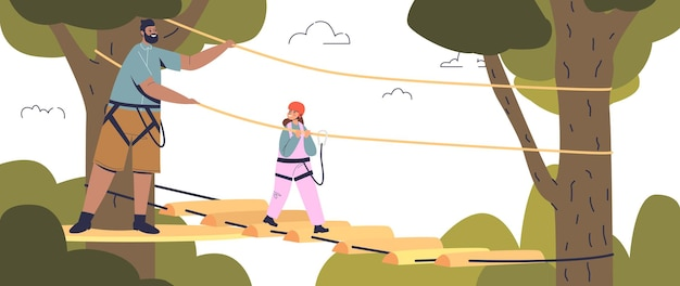 Small daughter in adventure rope park climbing hang on rope ladder between trees with dad or male instructor. children extreme activity entertainment concept. cartoon flat vector illustration