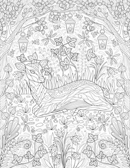 Маленький олень, лежащий на траве с арочными ветвями деревьев, растения, огонь, лампа, бесцветная линия