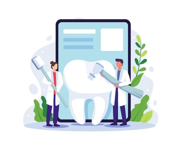 小さな歯科医が大きな歯を掃除します。歯科医のオンラインサービス、医療機器を使用して歯を均一に治療する歯科医。フラットスタイルのベクトル図