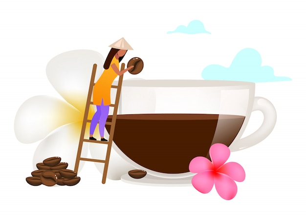 Small family coffee business flat illustration. small-scale coffee production. smallhoder. plumeria flower. indonesia. isolated cartoon concept on white background