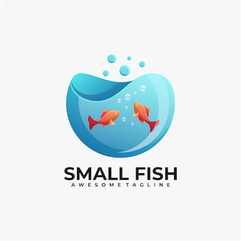Small fish illustration logo design template