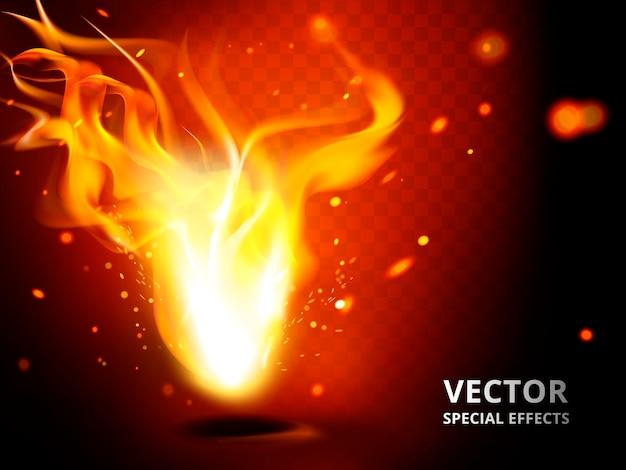 特殊効果として使用できる小さな炎の要素、赤い背景