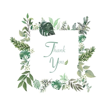 Small flower and green leaves around rectangle thank you word in open space frame