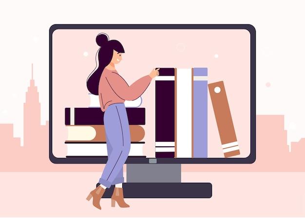 Небольшая бесплатная библиотека. городская онлайн-библиотека. люди читают книги.