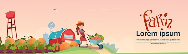 Small girl farmers daughter hold trolley