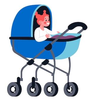 Маленькая девочка малыша, сидящая в векторе коляски