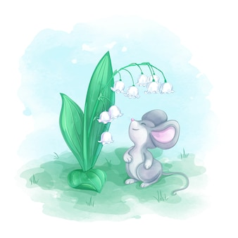 A small gray mouse sniffs a blossomed lily of the valley. spring watercolor cartoon