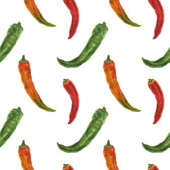 Small green, orange and red hot peppers, watercolor seamless pattern