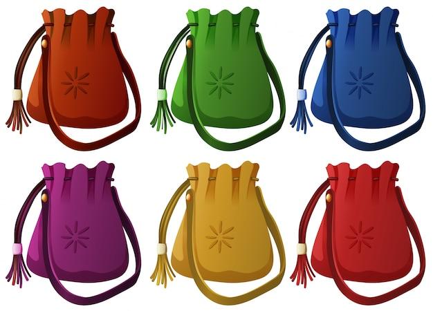 6色の小さなハンドバッグイラスト