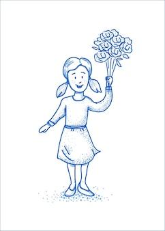 꽃과 작은 행복 소녀. 블루 라인 일러스트입니다. 프리미엄 벡터
