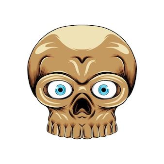 구멍 코와 이빨을 가진 파란 렌즈 눈을 가진 작은 머리 두개골