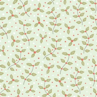 Small holly tree branch and snow seamless pattern vector background