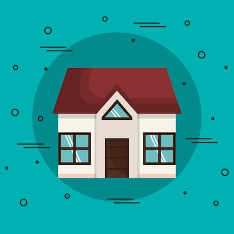 Small house over teal background. vector illustration.