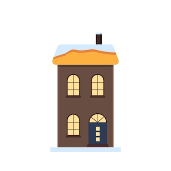 A small house with a bright roof in the snow light in the windows merry festive decorations for the ...