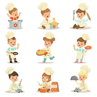 최고 더블 브레스트 코트와 모자 모자 요리 음식과 베이킹 준비 귀여운 만화 캐릭터의 작은 아이 식사 준비
