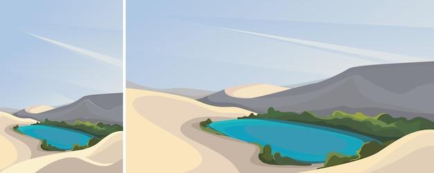 사막에있는 작은 호수. 수직 및 수평 방향의 자연 풍경.