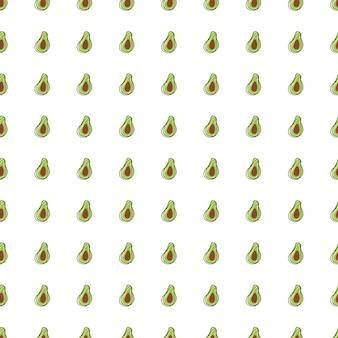 小さな小さな緑のアボカドのシルエットのシームレスな落書きパターン