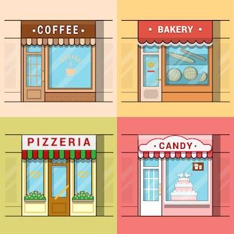 小さな地元のビジネスショーケース店先ショップウィンドウカフェコーヒーベーカリーピザピッツェリアキャンディー菓子セット。