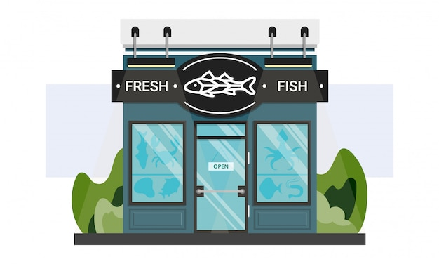 Small local fish shop front entrance with line sign