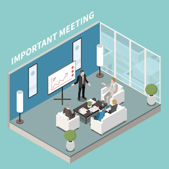 Небольшой конференц-зал, современный офисный дизайн, изометрическая композиция с презентацией на белой доске, обсуждение журнального столика