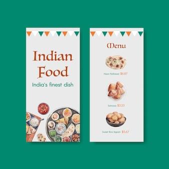 Modello di menu piccolo con cibo indiano