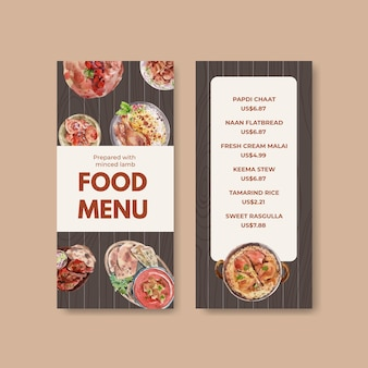 Piccoli modelli di menu con cibo indiano