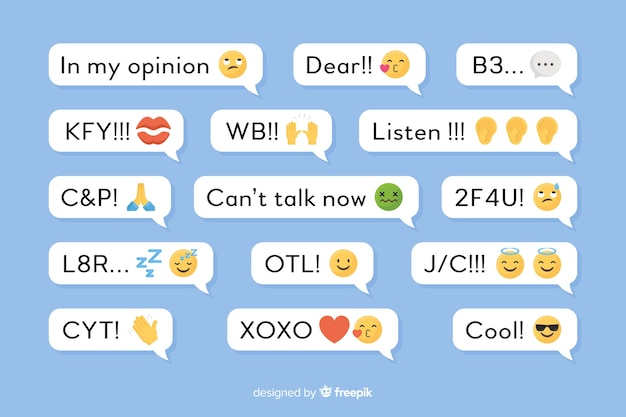 Small messages with different emojis