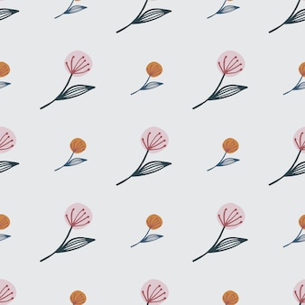 Small and middle dandelion on seamless floral pattern. lighr pink background. for fabric , textile print, wrapping, cover.  illustration.
