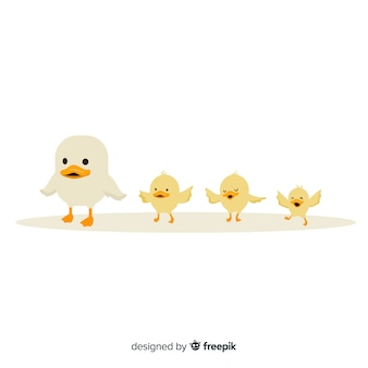 Small mother duck and ducklings