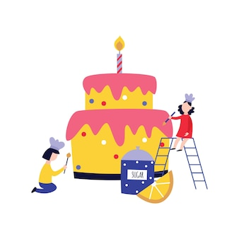 小さな人々-子供-巨大なケーキフラット漫画を調理して飾る