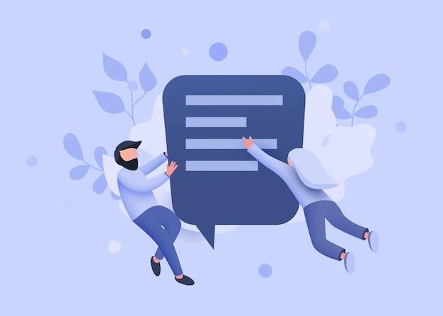 カップルのオンラインメッセンジャーまたは連絡先のサインの概念を話しチャットバブルの周りを飛んでいる小さな人々