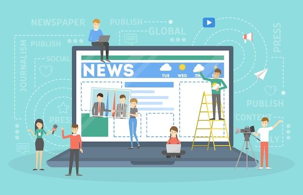 웹 페이지에서 온라인 뉴스를 만드는 작은 사람들. 인터넷의 소셜 미디어. 카메라맨과 기자 인터뷰 사람. 삽화