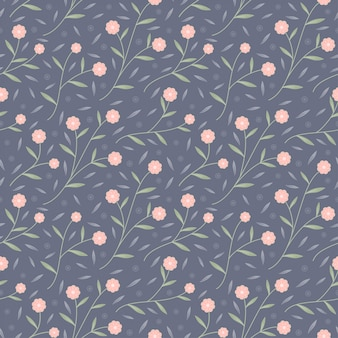 Small pink bloom flower and leaves seamless pattern vector background