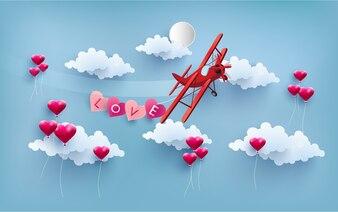 Small plane valentine background