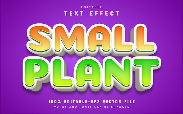 小さな植物のテキスト、漫画風のテキスト効果