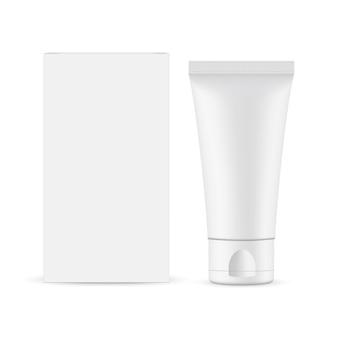 골판지 상자가있는 작은 플라스틱 튜브