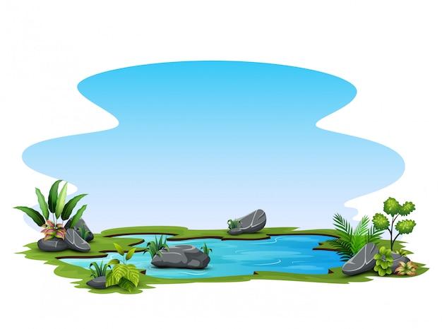 흰색 바탕에 푸른 잔디와 작은 연못