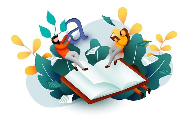 책 위에 비행 작은 독서 사람들